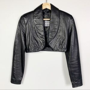 MICHAEL HOBAN VINTAGE 80's Cropped Leather Jacket